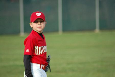 Photo of K and K playing baseball