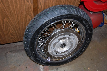 Photo of my VTX 1300 front tire and wheel.